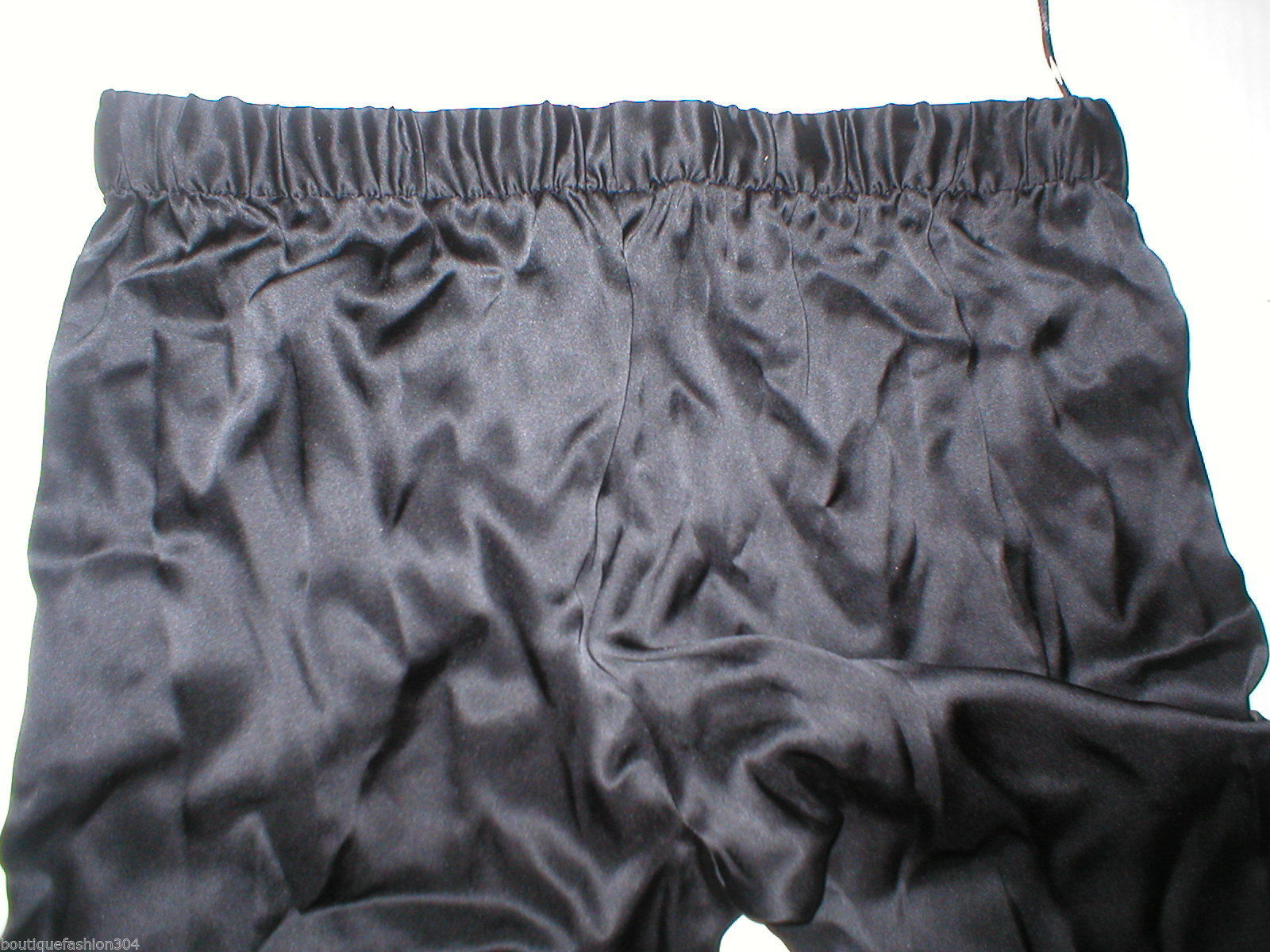 New NWT $195 Medium Designer Josie Natori Silk Pants Black Key Crop Capri Lounge image 4