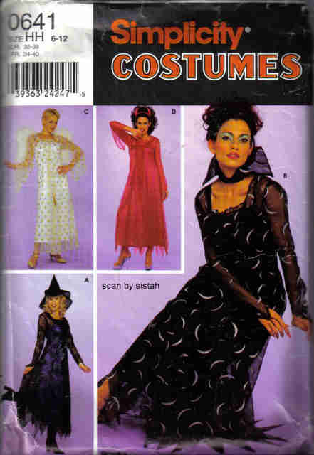 Simplicity 0641 Pattern misses 6 8 10 12 Angel Devil  Witch Soceress costume Simplicity