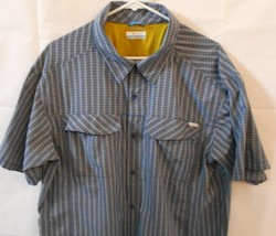 Columbia Mens Shirt Size XXL Blue Plaid Short Sleeve Button Front Sun Protection - $24.99