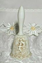 """Vintage LEFTON Egg Shell White Bisque Raised Relief Cherubs Bell  w/ Ringer 5"""""""