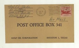 1957 US Army Air Force Postal Service APO Cover to Gulf Oil Coporation H... - $11.99