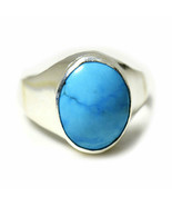 Natural Line Turquoise Ring Silver 9 Carat Jewelry Size K,L,M,N,O,P,Q,R,... - $45.05