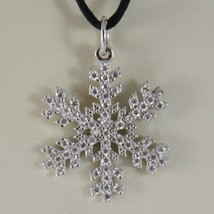 18K WHITE GOLD SNOWFLAKE PENDANT 25 MM, 0.98 INCHES, ZIRCONIA, MADE IN ITALY image 1