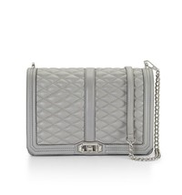 NWT Rebecca Minkoff JUMBO LOVE Crossbody Quilted Leather Bag PALE GREY $... - $298.00