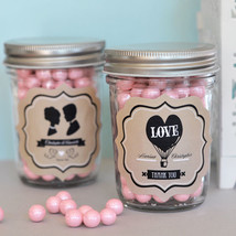 50 Personalized Vintage Mason Candy Jar Container Bridal Wedding Favors - $75.95