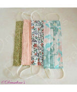 Face Mask Handmade Adult Lot Cloth Washable Green, Pink Set of 4 - $9.99