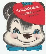 Vintage Valentine Card Starry Eyed Bear Unused Envelope 1960's - $6.92