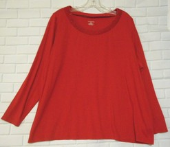 Lands' End 2X  Red Beaded Scoop Neck Cotton Rayon Blend Long Sleeve  Kni... - $15.55
