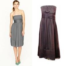 J.Crew Strapless Purple Silk Chiffon Empire Waist Dress Womens Size 6 | ... - $44.23