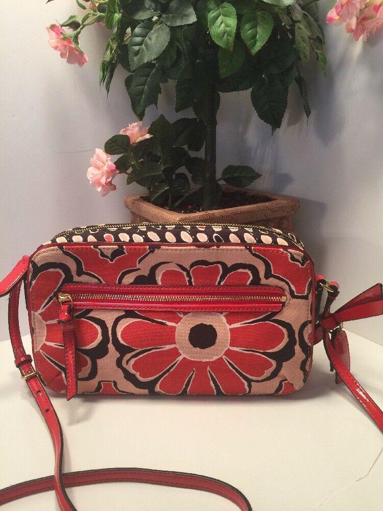 Coach Crossbody Bag Floral Scarf Flight 25121 Desert Sky Red Neutral