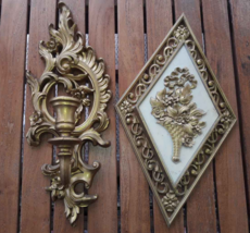Syroco Taper Candle Holder & Dart Gold Wall Hanging Ornate Plastic Set 2... - $6.92