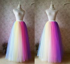 Adult RAINBOW Tulle Skirt Multi Colored Long Rainbow Tutu Skirts Plus Size  image 3