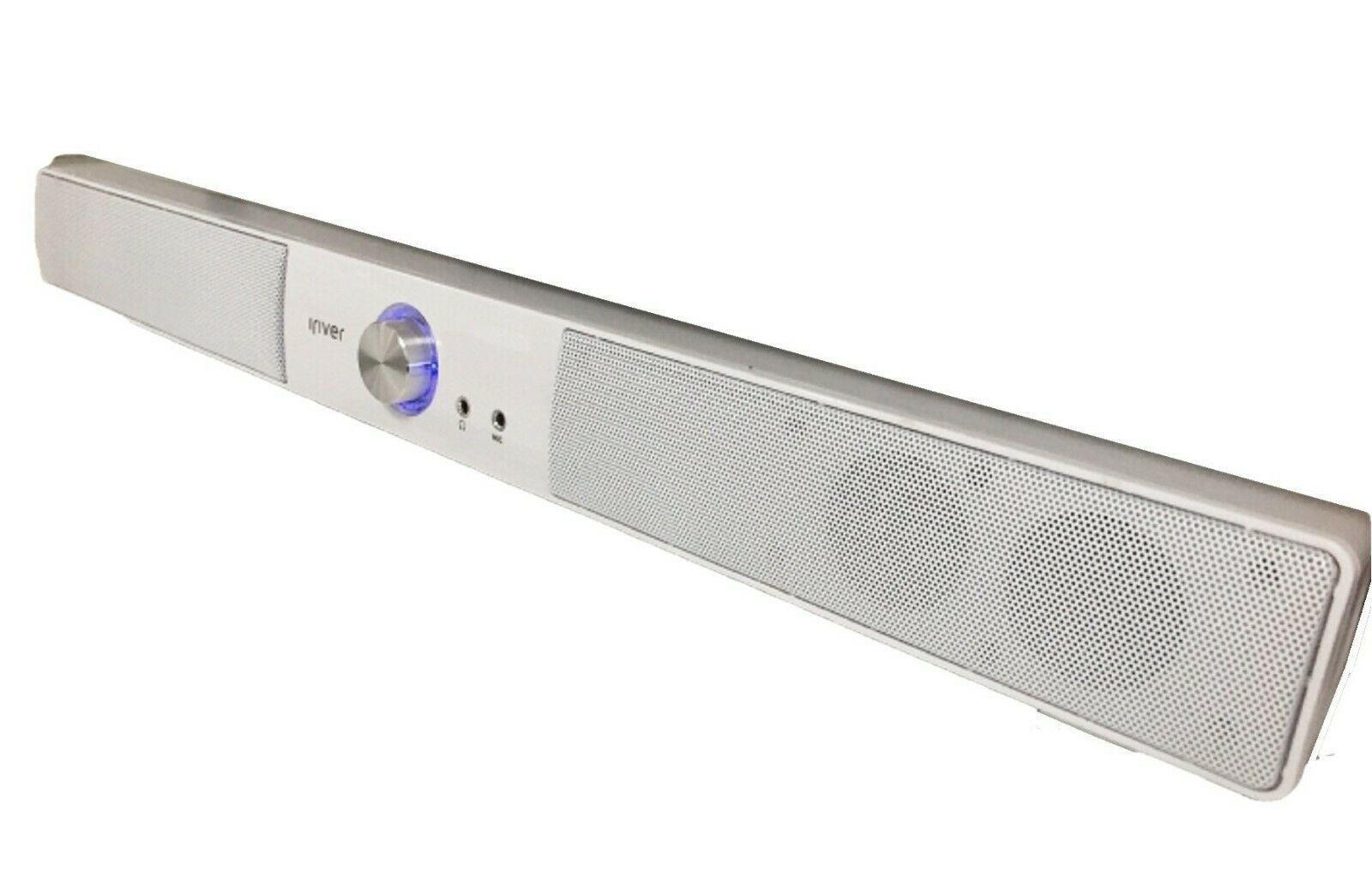 iRiver IBS-400 USB Powered Computer PC Speaker Wired Sound Bar 2Ch (White)