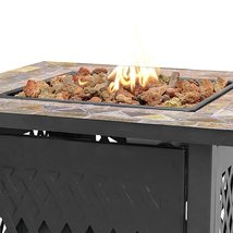 Outdoor Fire Pit Garden Deck Patio Furniture Square Fireplace Heater Propane Gas image 3
