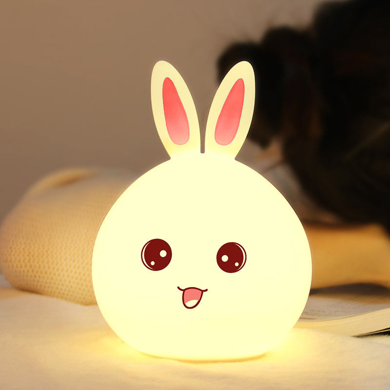 Multicolor Bunny LED Light Up Plastic Lamp 6-Inch