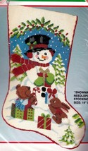 Bucilla Snowman & Animals Bear Bunny Christmas Needlepoint Stocking Kit ... - $124.95