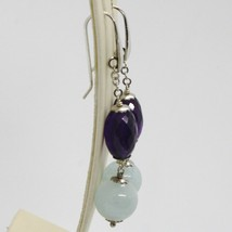 EARRINGS SILVER 925 RHODIUM PLATED WITH AQUAMARINE AND AMETHYST OVAL image 2