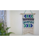 Wool and Cotton Macrame Wall Hanging in Shades of Blue - $55.00