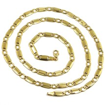 """18K YELLOW GOLD CHAIN GOURMETTE ALTERNATE FLAT PLATES  SQUARE LINKS 4.8 mm, 22"""" image 1"""