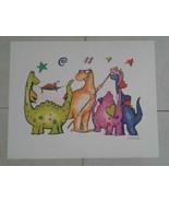 Authentic Alfred Gockel Colorful Dinosaurs 1980's Avant Art Print Germany - $50.00