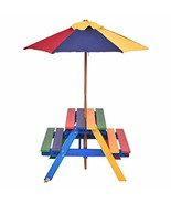 Costway 4 Seat Kids Picnic Table w/Umbrella Garden Yard Folding Children... - $91.69