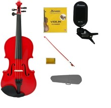 3/4 Size Red Violin,Case,Red Stick Bow+Rosin+2 Sets Strings+Clip On Tuner - $42.00