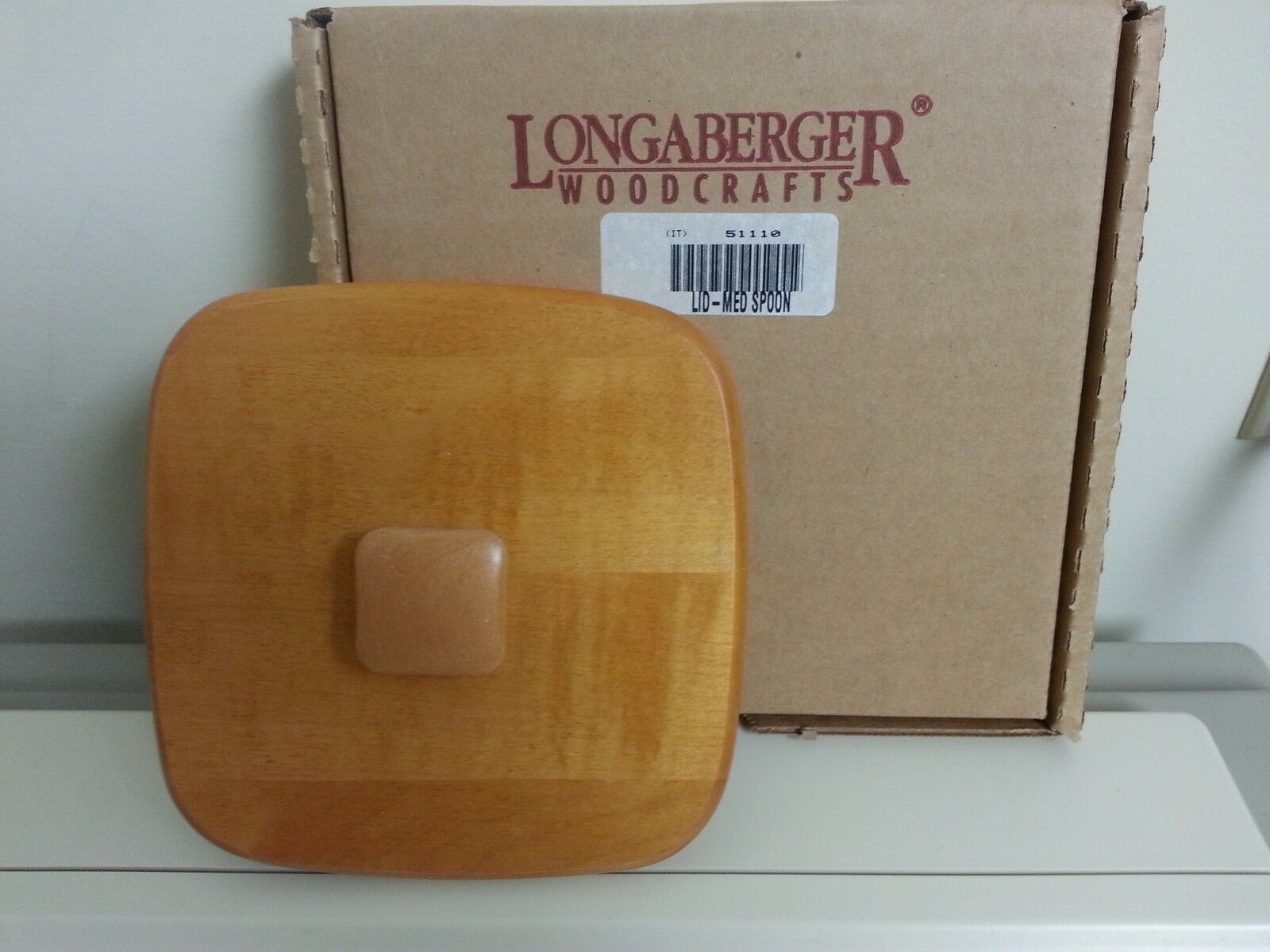 Primary image for Longaberger Medium Spoon Classic Stain Wooden Lid Only New Sealed 51110 USA Made