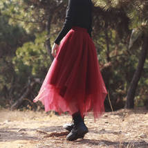Women Burgundy Long Tulle Skirt A-line Irregular Long Tutu Party Skirt Plus Size image 7