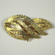 Monet Brooch 2.25 inch Goldtone Metal Vintage 1968 to 1980  - $29.69