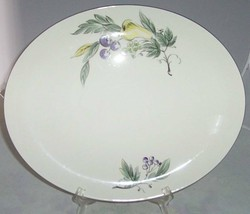 "HOMER LAUGHLIN RHYTHM DEBUTANTE PLATTER 15"" PEAR GRAPE - $29.69"