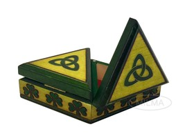 Unique Celtic Shamrock Box Polish Handmade Wooden Celtic Double Jewelry Box - €29,96 EUR