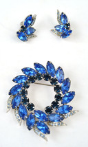 Coro Craft Blue Rhinestone Brooch Pin Earrings Set Vendome - $98.39