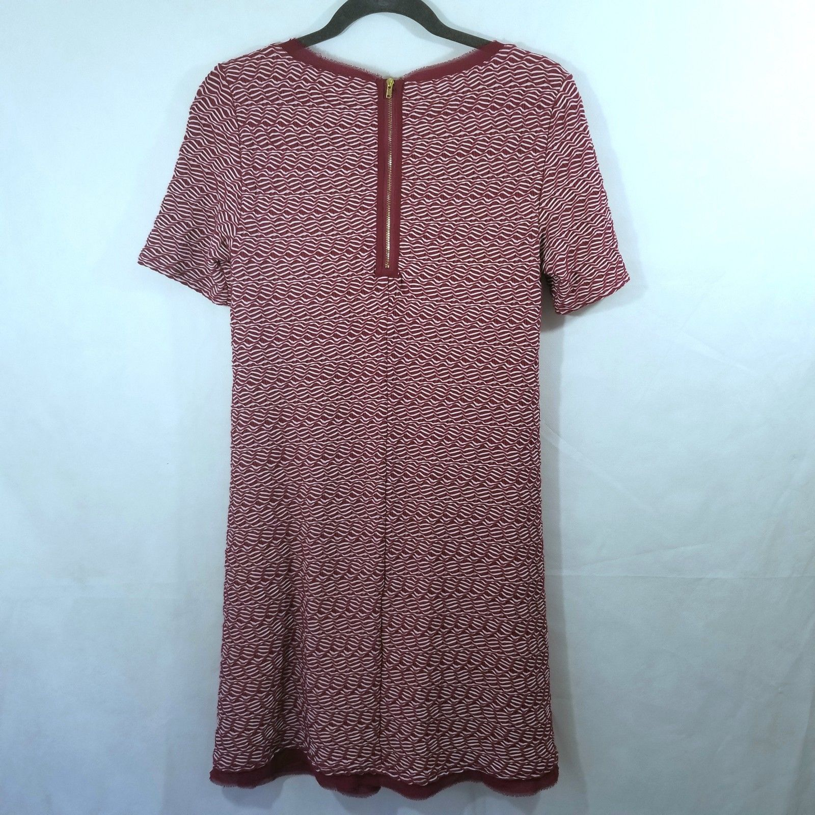 Maeve Anthropologie Burgundy Patterned Fit and Flare Dress Small