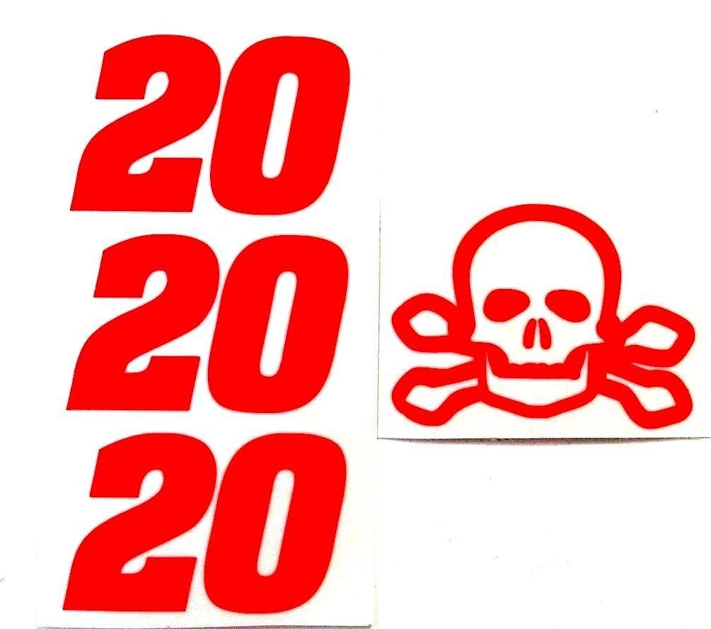 SKULL & CROSS BONES HI GLOW ORANGE # 20 DECAL 1/24TH SET MAKE YOUR OWN TEST CAR
