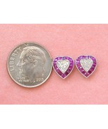 ART DECO STYLE .69ctw HEART DIAMOND SOLITAIRE RUBY HALO PLATINUM STUD EA... - $3,434.31