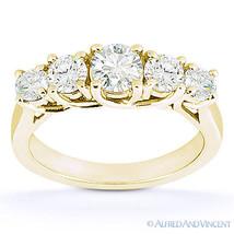 Round Cut Moissanite Anniversary 5-Stone Trellis Wedding Band in 14k Yel... - €547,08 EUR+