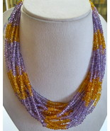 CITRINE AMETHYST FACETED ROUND BUNCH NECKLACE WITH 925 SILVER HOOK - $163.40