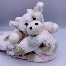 Little Giraffe Lovey Polka Dot Plush Baby Satin Trim Pink Gray Comfort  ... - $12.86