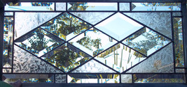 Diamond Beveled Stained Glass Window Panel Customizable Transom Sidelight - $97.00