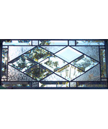 Diamond Beveled Stained Glass Window Panel Customizable Transom Sidelight - $97.00