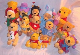 Lot 14 Plush Winnie the Pooh Adorable Variety Bedtime Bee Flower Bunny ... - $39.55