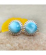 Natural Larimar Gemstone Stud Larimar Stud Earrings Larimar Silver Jewel... - $67.40