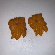 Vintage Carved Butterscotch Bakelite Tested Floral Dress Scarf Clip Flower 2 - $34.00