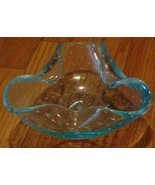 Vintage Blown Stretch Glass Pinch Rim Bowl, GREAT LIGHT BLUE COLOR, PRETTY - $16.82