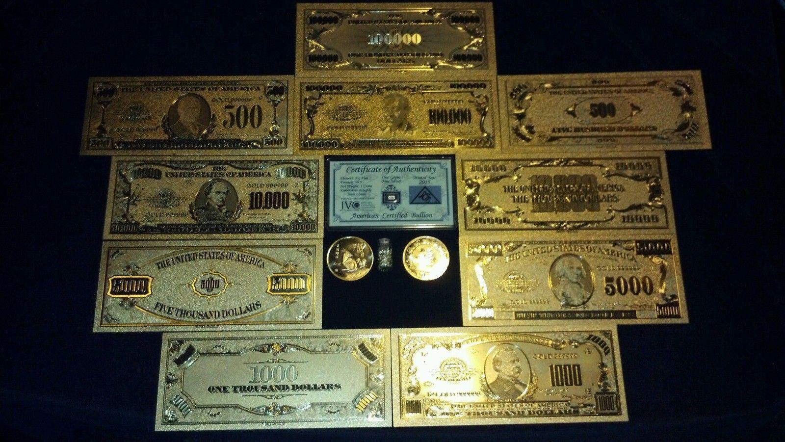 UNIQUE SET GOLD$500-100K COLLECTIBLE REP*BANKNOTES W/COA+COIN/FLAKE!FREE S&H - $28.08