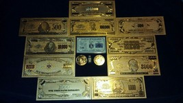 UNIQUE SET GOLD$500-100K COLLECTIBLE REP*BANKNOTES W/COA+COIN/FLAKE!FREE... - $28.08