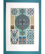 TURKEY Ottoman Glazed Tiles Earthenware - COLOR Litho Print A. Racinet - $22.95