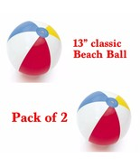 "2 Pack ~ Traditional Classic inflatable Beach Ball 13"" Diameter NEW - $6.92"