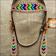Hilason Western Horse Headstall Bridle American Leather Tan Aztec Inlay ... - $64.30