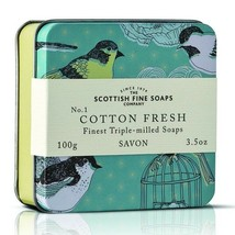 Scottish Fine Soaps Birds Cotton Fresh Soap in a Tin 100g 3.5oz - $10.50
